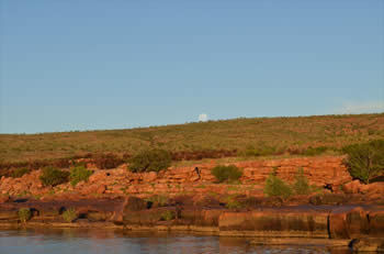 Moon rising above Fitzyroy River